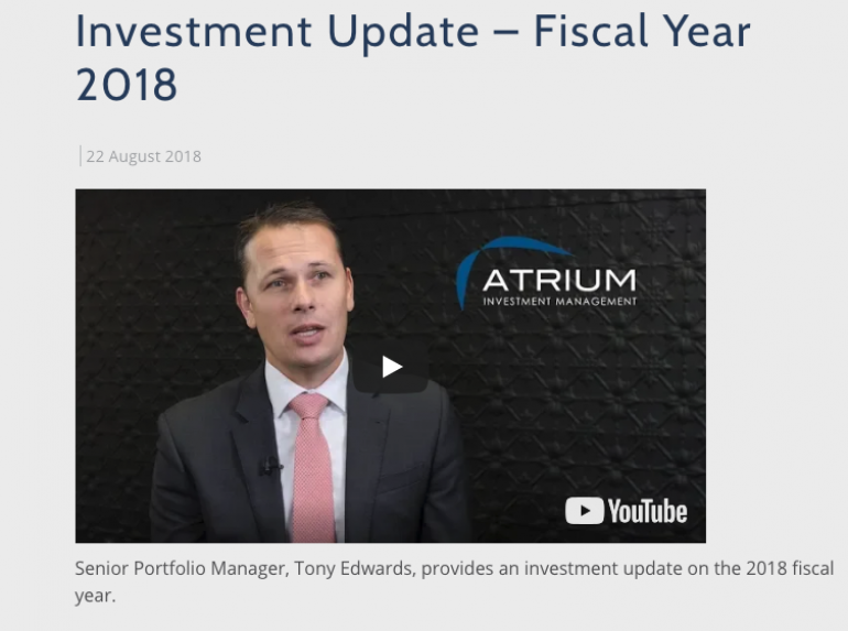 Investment Update - Fiscal Year 2018